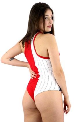 Body Macaquinho FILA Pinstripe Branco/Vermelho
