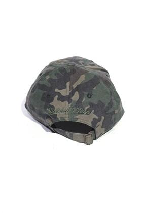 Bone Aba Curva Mitchell and Ness Logo Camo Strapback Verde