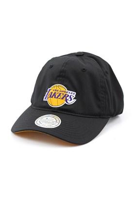 Bone MITCHELL AND NESS Los Angeles Lakers Flexfit 110 Strapback Preto