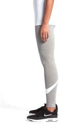 Calça Legging Nike Sportswear Swoosh Feminina Cinza/Branca