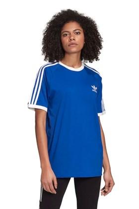 Camiseta ADIDAS 3 Stripes Feminino Azul/Branca