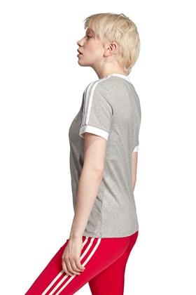 Camiseta ADIDAS 3 Stripes Feminino Cinza/Branca
