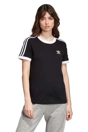 Camiseta ADIDAS 3 Stripes Feminino Preta/Branca