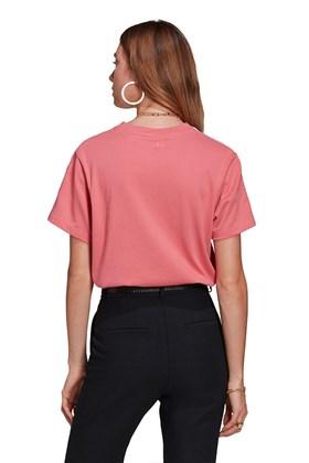 Camiseta Adidas Adicolor 3D Trefoil Loose Rosa/Branco