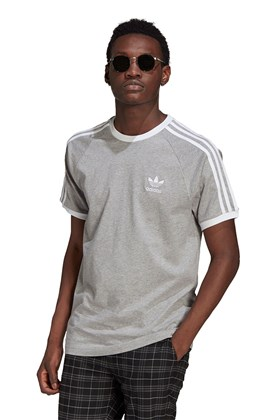 Camiseta Adidas Adicolor Classics 3 Stripes Cinza/Branco
