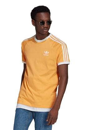 Camiseta Adidas Adicolor Classics 3 Stripes Laranja/Branco