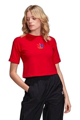Camiseta ADIDAS Cropped 3D Trefoil Vermelha