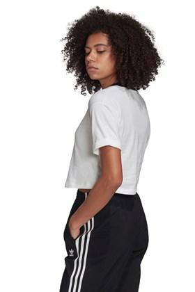 Camiseta ADIDAS Cropped Trefoil Branca/Preta