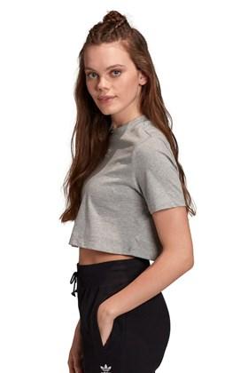 Camiseta Adidas Cropped Trefoil Essentials Cinza