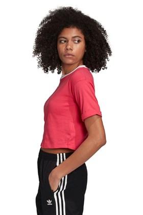 Camiseta ADIDAS Cropped Trefoil Rosa/Branca