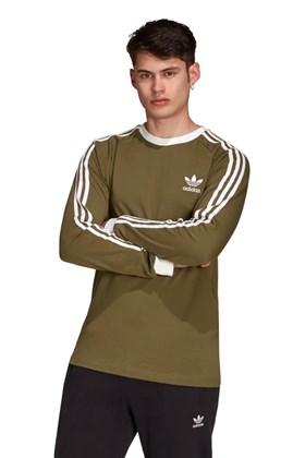 Camiseta Adidas Manga Longa Adicolor Classics 3-Stripes Verde/Branca