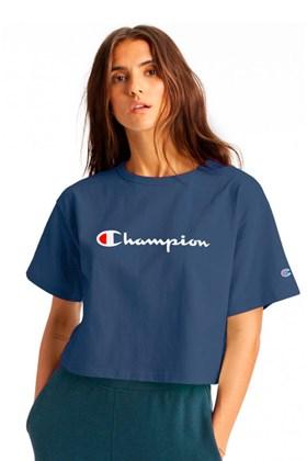 Camiseta Champion Feminina Cropped Tee Script Logo Ink Azul/Branca