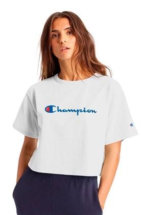 Camiseta Champion Feminina Cropped Tee Script Logo Ink Branca/Azul