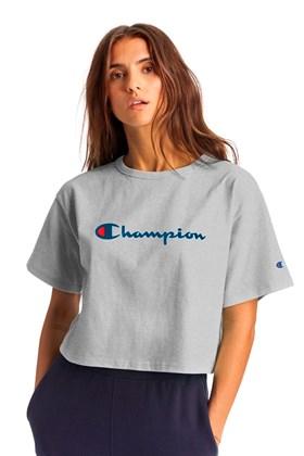 Camiseta Champion Feminina Cropped Tee Script Logo Ink Cinza/Azul