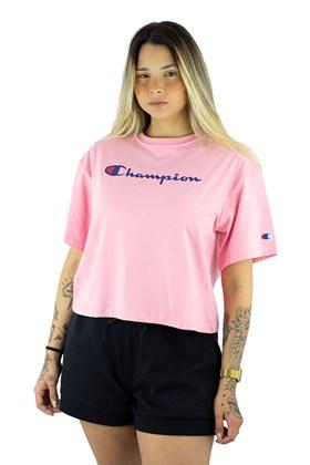 Camiseta Champion Feminina Cropped Tee Script Logo Ink Rosa/Azul