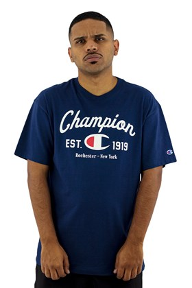 Camiseta Champion Logo Arc Script Marinho