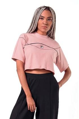 Camiseta FILA Cropped Canelado Ribbed Feminino Rosa
