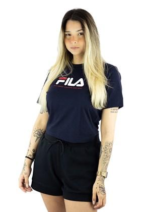 Camiseta Fila Cropped Logo Heritage Feminina Azul/Branca