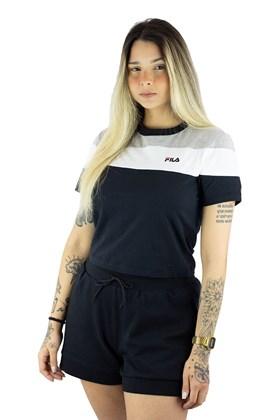 Camiseta Fila Cropped Maya Feminina Cinza/Branca/Preta