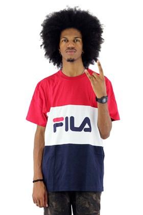 Camiseta FILA Day Mescla Vermelha/Branca/Azul