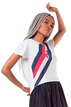 Camiseta FILA Macro Stripe Feminino Branca