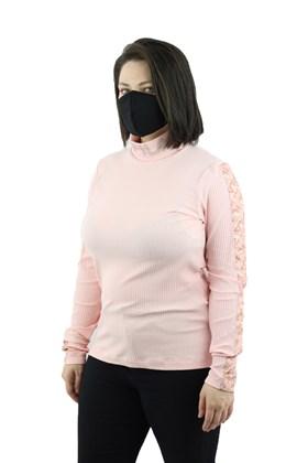 Camiseta FILA Manga Longa Canelado Ribbed Feminina Rosa