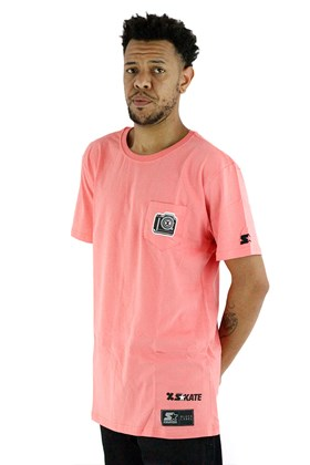 Camiseta Starter Collab Cemporcento Skate Bolso Salmão