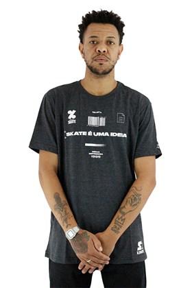 Camiseta Starter Collab Cemporcento Skate Codigo Cinza