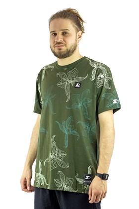 Camiseta Starter Flores Verde/Bege