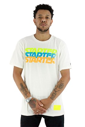 Camiseta Starter Logo Neon Bege