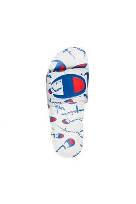 Chinelo Champion Slide IPO Warped Branco/Azul