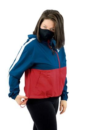 Jaqueta NIKE Corta Vento Capuz Sportswear Feminina Azul/Vermelha