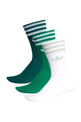 Meia Adidas Crew Socks 3 Pares Branco/Verde/Verde Escuro