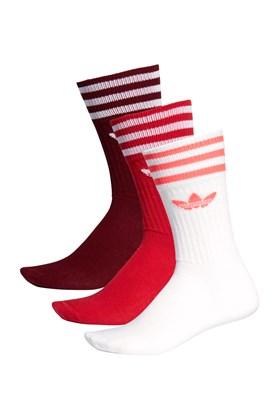Meia Adidas Crew Socks 3 Pares Branco/Vermelho/Bordo
