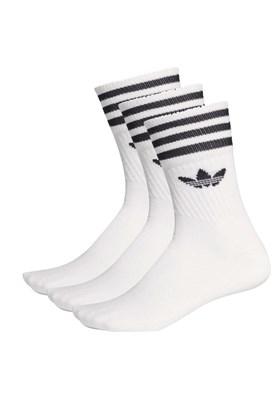 Meia Adidas Mid-Cut 3 Pares Branca/Preta