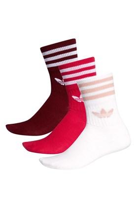 Meia Adidas Mid-Cut 3 Pares Branco/Vermelho/Bordo