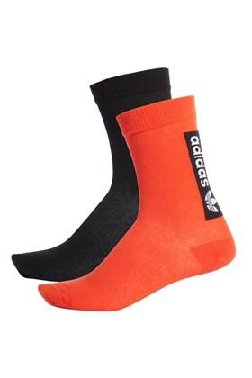 Meia Adidas Thin Crew Socks 2 Pares Laranja/Preto