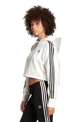 Moletom ADIDAS Capuz Cropped 3 Stripes Feminino Branco