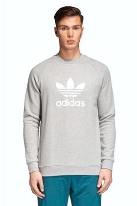 Moletom Adidas Careca Warm-Up Trefoil Cinza