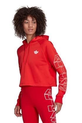 Moletom Adidas Cropped Hoodie Feminino Vermelho/Branco