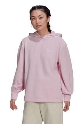 Moletom Adidas Smocked Cuff Capuz Feminino Rosa/Branco