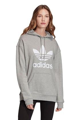 Moletom Adidas Trefol Capuz Feminino Cinza/Branco