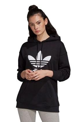 Moletom Adidas Trefol Capuz Feminino Preto/Branco
