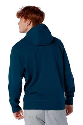 Moletom New Balance Essentials Full Zip Azul/Branco