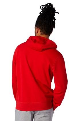 Moletom New Balance Essentials Stacked Vermelho/Branco