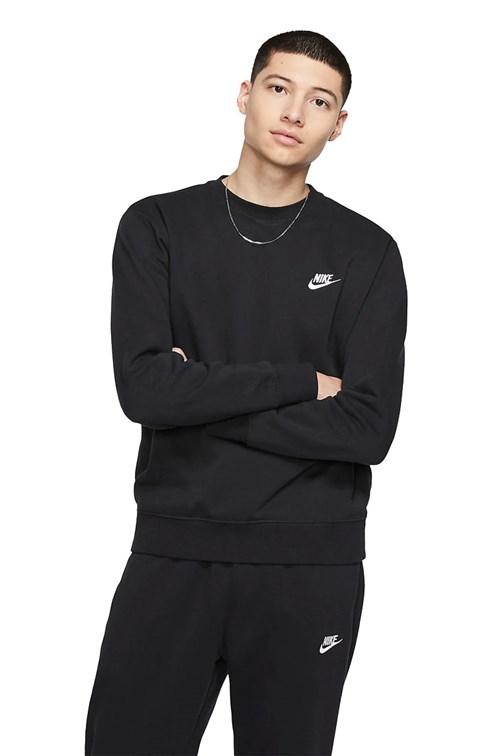Moletom Nike Club Fleece Crew Careca Preto