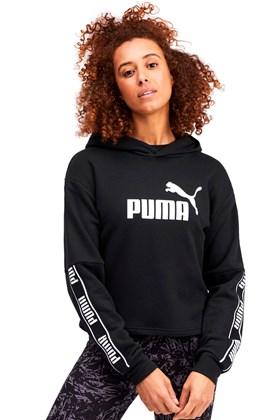 Moletom Puma Amplified Cropped Capuz Feminino Preto