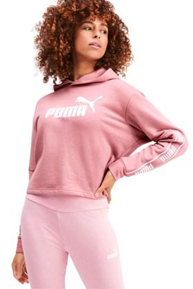 Moletom Puma Amplified Cropped Capuz Feminino Rosa