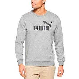 Moletom Puma Essentials Logo Big Crew Sweat Careca Cinza