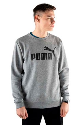Moletom Puma Essentials Logo Big Crew Sweat Careca Cinza/Preto